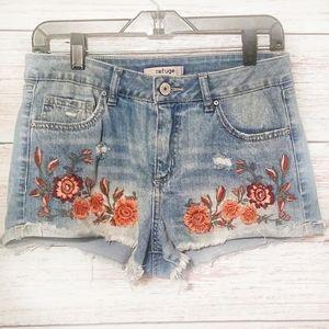 Refuge Jean Shorts Floral print Red Blue Size 8
